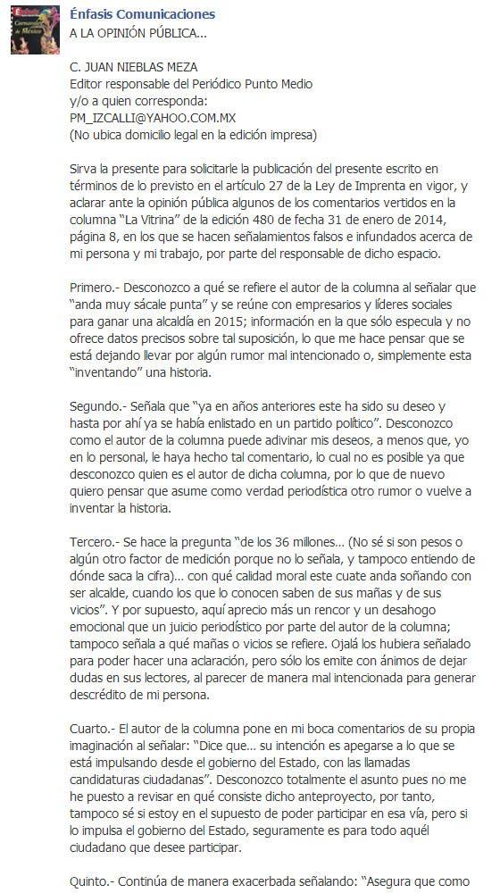 Carta Pública del Defensor Municipal de los Derechos Humanos a C. JUAN NIEBLAS MEZA Periódico Punto Medio https://www.facebook.com/enfasis.comunicaciones/posts/713520995364787